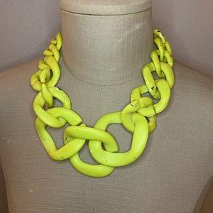 Alisha d. Chartreuse resin link necklace
